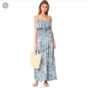 blue life ruffle maxi dress